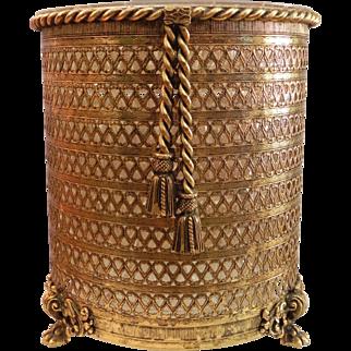 Ormolu Rope Tassel Claw Feet Footed Filigree Waste Paper Basket Stylebuilt Matson Era Vintage Vanity