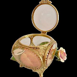 Vintage Ormolu Rose Pink Peach Beveled Glass Tufted Jewelry Casket Trinket Box Vitrine