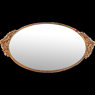 Vintage Signed Matson ROSE Ormolu Vanity Mirror Tray