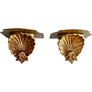 Pair Vintage Italian Florentine Gold Gilt SHELL Wall Shelves Italy