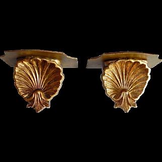 Pair Vintage Italian Florentine Gold Gilt SHELL Wall Shelves Italy