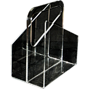 Mid Century Clear Lucite Magazine Rack Record Holder Vintage MCM Mod Retro