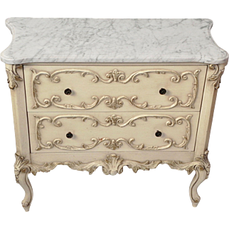Beveled Marble Top 2 Drawer Gilded Trim Painted Dresser Nightstand French Country Louis Style