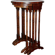Set of 3 Wooden Faux Bamboo Side End Cocktail Tables Chinoiserie Style Nesting Stacking BRANDT