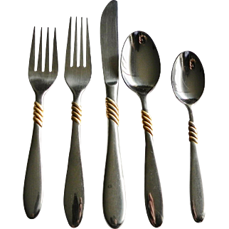 Retired Set/s Rogers Compliment with Gold Accents Stainless Flatware Korea Vintage