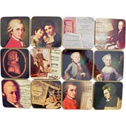 Set of 12 Mozart Classical Music Themed Drinks Glass Coasters Cork Back Vintage Barware