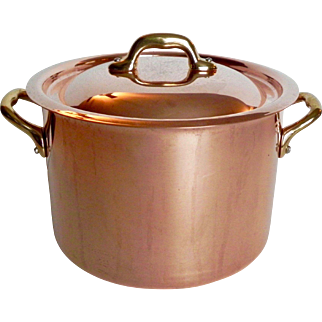 Vintage Mauviel for Williams Sonoma France 3.5 quart Copper Stock Pot Pan Stainless Interior