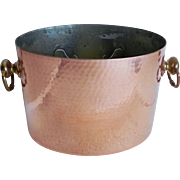 French Vintage Hammered Copper Double Wine Champagne Ice Bucket Cooler Made in France
