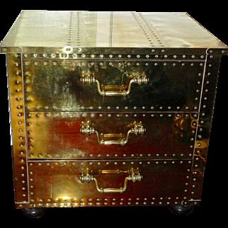 Vintage SARREID Brass 3 Drawer Dresser Chest Nightstand End Table Spain MCM