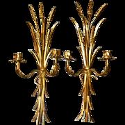 Pair Vintage Italian Sheaf Wheat Candlestick Wall Sconces Gilt Florentine Italy MCM