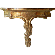 Petite Vintage Italian Florentine Gold Gilt Gesso Wall Shelf Italy