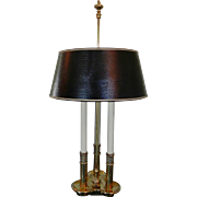 Vintage Stiffel Brass True Bouillotte Candlestick Table Lamp Original Leather Embossed Shade