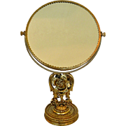 Vintage Magnified Double Sided Ormolu Standing Table Top Mirror Rose Floral Matson Stylebuilt Era