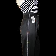 NOS Italy Vintage Lillie Rubin Jeweled Beaded Black Wool Tuxedo Pants Slacks High Waisted Pants