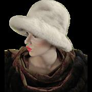 Vintage Pearl Beige Blonde Silver Gray REAL Mink Fedora Fur Hat Wide Brim