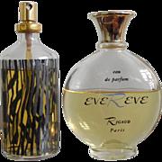 Set 2 Rare Rigaud Eve Reve EDP Zebra Atomizer Spray and Splash Paris Vintage