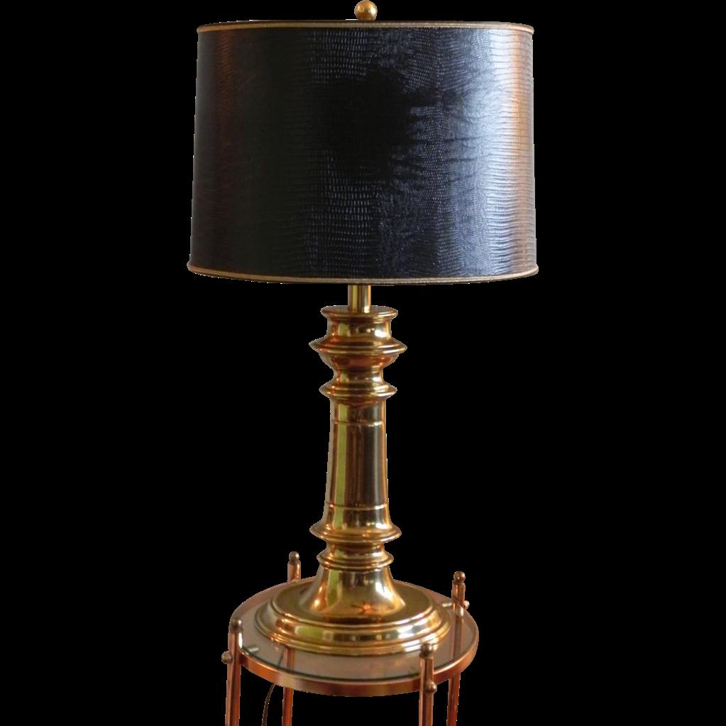 PENDING SALE Stately Stiffel Brass Table Desk Lamp Original Leather SOLD |  Ruby Lane - PENDING SALE Stately Stiffel Brass Table Desk Lamp Original Leather