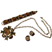 Rare Signed FLORENZA Parure. Pendant, Bracelet and Earrings.  Circa 1960.