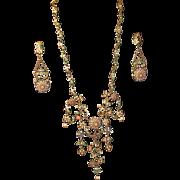 Ornate Designer Signed Roxanne Assoulin Necklace and Earring Set