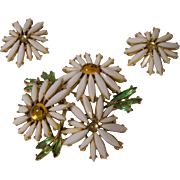 White Signed ART Daisy Flower Brooch and Earring Set.