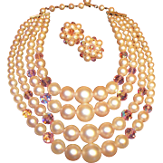 Soft Pale Pink Necklace and Earring Set signed LAGUNA