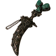Harlequin Designed Sterling and Turquoise Sword Brooch.  Circa 1940's.