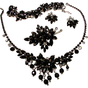 Juliana Black Glass Bead Necklace, Brooch, Bracelet and Earring Dangle Parure. Book Piece.
