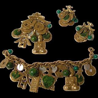 Oriental Charm Pendant, Bracelet and Earring Set.  Signed ART