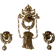 Lovely Ewardian Era Amethyst Brooch/Pendant and Earrings