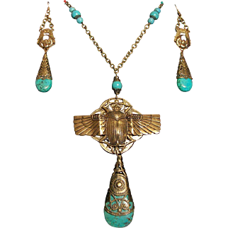 Egyptian Revival Scarab Turquoise Necklace Set