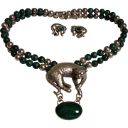 Malachite Stone and Sterling Leopard Necklace Set