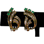 Quality 18K Gold Diamond and Emerald Earrings