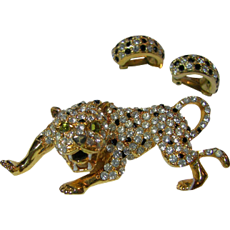 Genuine Austrian Crystal Leopard Brooch and Earrings