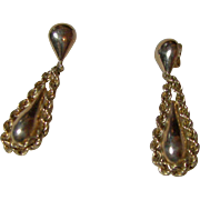 14KT Yellow Gold Pierced Teardrop Earrings
