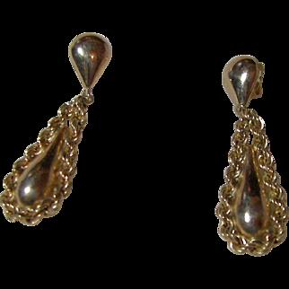 14KT Yellow Gold Pierced Teardrop Earrings