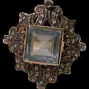 Ornate 14K Aquamarine Ring with Diamonds. Size 7