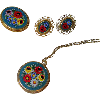 Italian Mosaic Floral Brooch, Pendant and Earrings