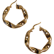 Lovely Wide 14K Yellow Gold Pierced Hoop Earrings
