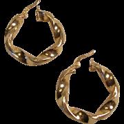 Lovely Wide 14K Yellow Gold Pierced Hoop Earrings