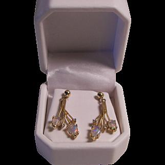 Marked 14KT Gold Opal with Diamonds Pierced Earrings