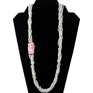 Lovely Seed Pearl and Angel Skin Coral Necklace