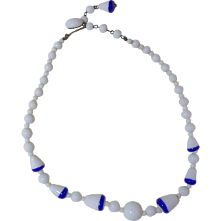 Vintage Milk Glass Necklace