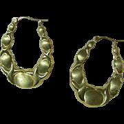 14K Gold Pierced Hoop Earrings.  Circa 1960