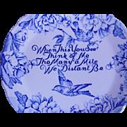 Bluebird Blue Transferware Staffordshire Friendship Plate