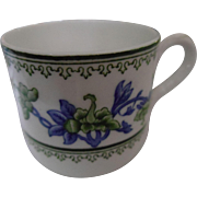 Antique Blue and Green Floral Royal Worcester China Demitasse Cups
