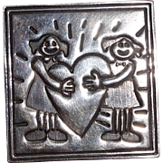 Mexican Silver Sterling Valentine Friendship Pin Brooch Jewelry