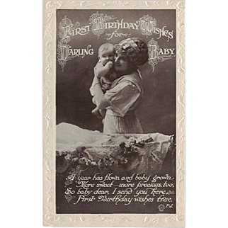 First Baby's Birthday RPPC Real Photo Postcard Embossed by Valentines J.V. Series c. 1920