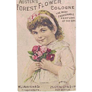 Old Victorian Era Trade Card Austen's Forest Flower Cologne - Anamosa, Iowa