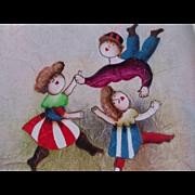 Folk Art Painting Children Signed by Artist