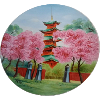 Japanese Artist Signed Pagoda Painting on Plate Cherry Trees